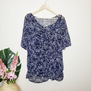 Lane Bryant Blue & White Dotted 3/4 Sleeve Blouse